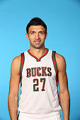 Zaza Pachulia of the Milwaukee Bucks poses for a portrait during media day on September 29 2014 at the Bucks Training Center in St Francis Wisconsin...