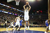 Zaza Pachulia of the Milwaukee Bucks rebounds against the New York Knicks as part of the 2015 Global Games on January 15 2015 at The O2 Arena in...