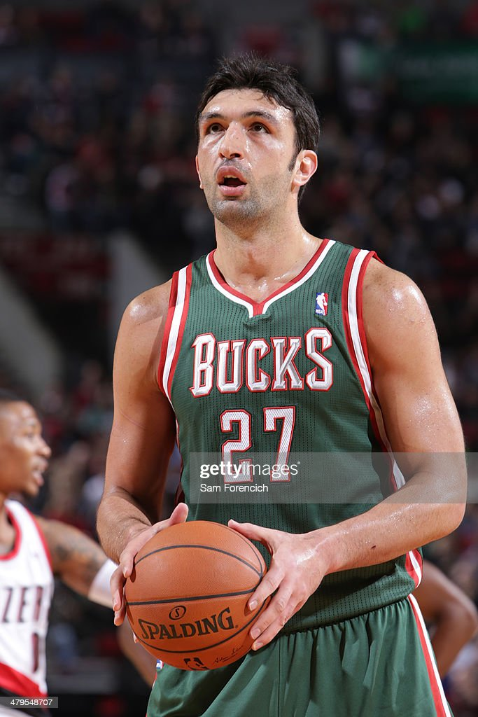 Zaza Pachulia #27 of the Milwaukee Bucks shoots a foul shot against the Portland Trail Blazers on March 18, 2014 at the Moda Center Arena in Portland, Oregon.