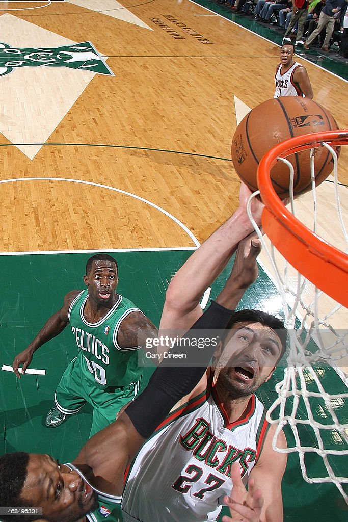 <a gi-track='captionPersonalityLinkClicked' href=/galleries/search?phrase=Zaza+Pachulia&family=editorial&specificpeople=202939 ng-click='$event.stopPropagation()'>Zaza Pachulia</a> #27 of the Milwaukee Bucks shoots against the Boston Celtics on February 10, 2014 at the BMO Harris Bradley Center in Milwaukee, Wisconsin.