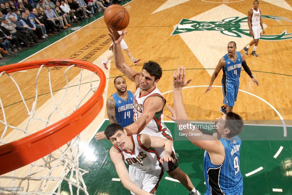 <a gi-track='captionPersonalityLinkClicked' href=/galleries/search?phrase=Zaza+Pachulia&family=editorial&specificpeople=202939 ng-click='$event.stopPropagation()'>Zaza Pachulia</a> #27 of the Milwaukee Bucks shoots against the Orlando Magic on February 18, 2014 at the BMO Harris Bradley Center in Milwaukee, Wisconsin.