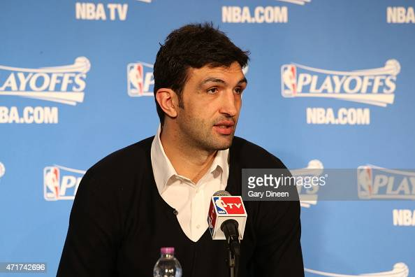 Zaza Pachulia of the Milwaukee Bucks speaks with the media after the game against the Chicago Bulls in Game Six of the Eastern Conference...