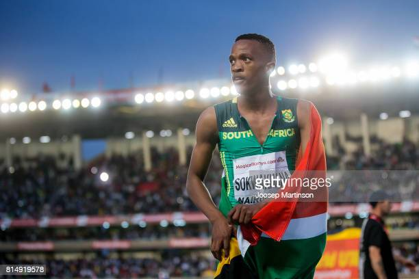 Zazini Sokwakhana of South Africa celebrates in the boys 400m hurdles during day 4 of the IAAF U18 World Championships at Moi International Sports...