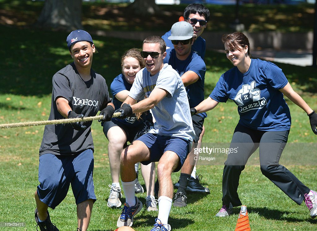 Zazzle team during the Tug-a-War game at the Founder Institute's Silicon Valley Sports League event on July 13, 2013 in Palo Alto, California.