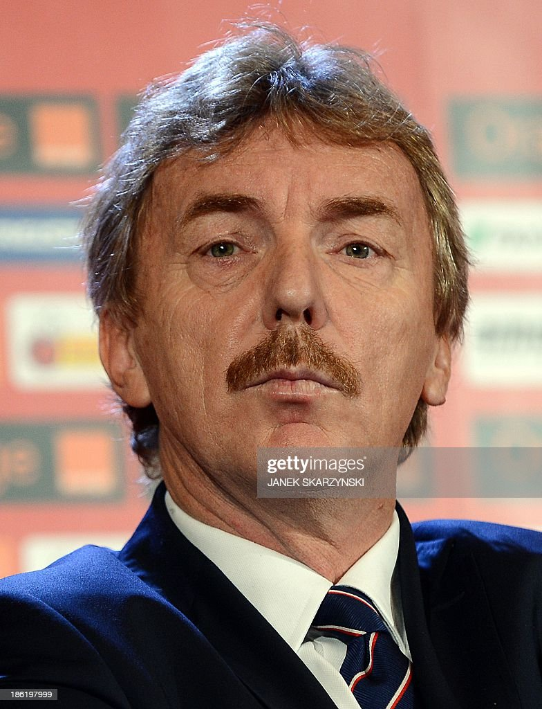 Zbigniew Boniek, head of Polish football federation presents Adam Nawalka (not in ppicture), as new coach of the Polish national football team at a press conference in Warsaw, Poland on October 29, 2013. Former Polish international Adam Nawalka has been named as the country's new coach, replacing the sacked Waldemar Fornalik.