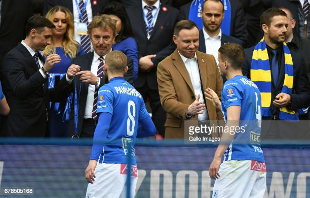 Zbigniew Boniek head of PZPN Andrzej Duda the president of Poland with Lech Poznan during the 201617 Polish Cup final match between Lech Poznan and...