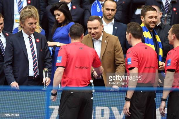 Zbigniew Boniek head of PZPN Andrzej Duda the president of Poland during the 201617 Polish Cup final match between Lech Poznan and Arka Gdynia at the...