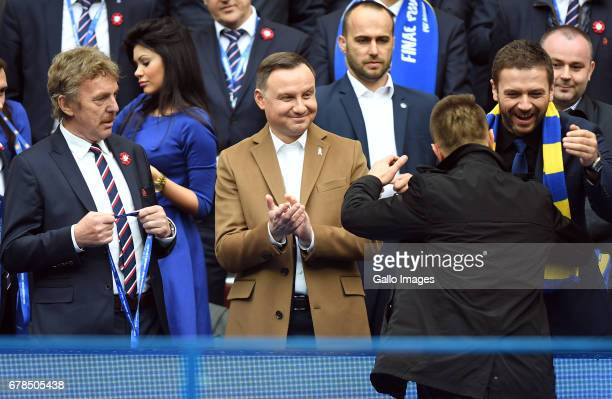 Zbigniew Boniek head of PZPN Andrzej Duda the president of Poland with Arka Gdynia during the 201617 Polish Cup final match between Lech Poznan and...