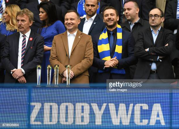 Zbigniew Boniek head of PZPN Andrzej Duda the president of Poland during the 201617 Polish Cup final match between Lech Poznan and Arka Gdynia on May...