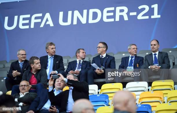 Zbigniew Boniek head of the Polish Football Association attends the UEFA U21 European Championship Group B football match Spain v FYR Macedonia on...