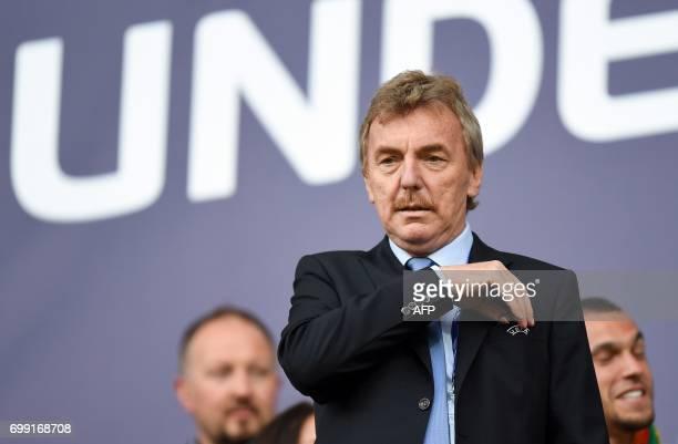 Zbigniew Boniek head of the Polish Football Association attends the UEFA U21 European Championship Group B football match Spain v Portugal in Gdynia...