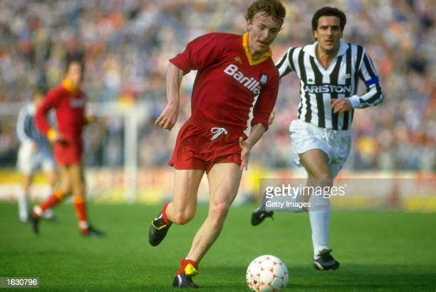 Zbigniew Boniek of Roma in action during a Serie A match against Juventus at the Olympic Stadium in Rome Roma won the match 30 Mandatory Credit...