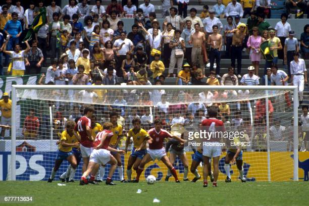 Zbigniew Boniek takes a free kick for Poland
