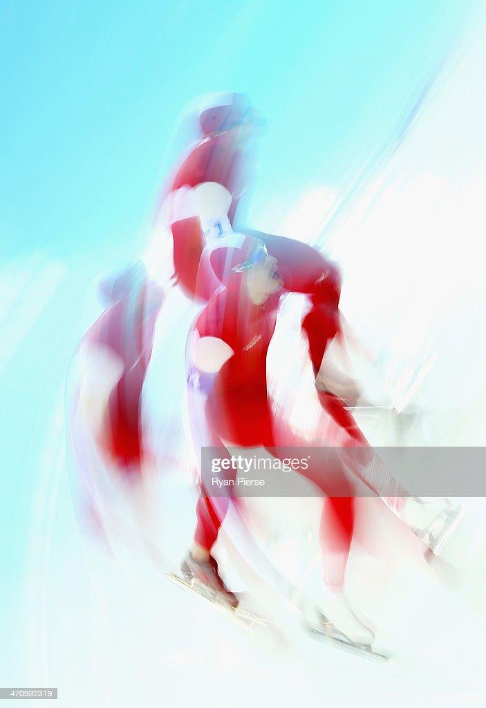 Zbigniew Brodka, Jan Szymanski and Konrad Niedzwiedzki of Poland compete during the Men's Team Pursuit Quarterfinals Speed Skating event on day fourteen of the Sochi 2014 Winter Olympics at Adler Arena Skating Center on February 21, 2014 in Sochi, Russia.