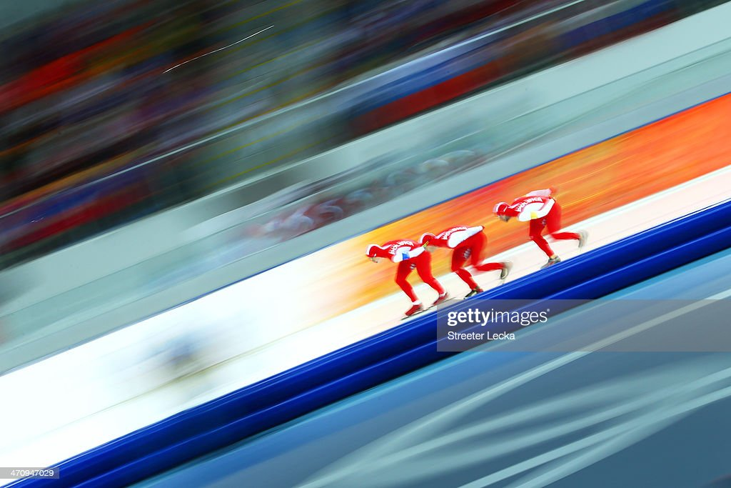 Zbigniew Brodka Konrad Niedzwiedzki and Jan Szymanski of Poland compete during the Men's Team Pursuit Semifinals Speed Skating event on day fourteen of the Sochi 2014 Winter Olympics at Adler Arena Skating Center on February 21, 2014 in Sochi, Russia.