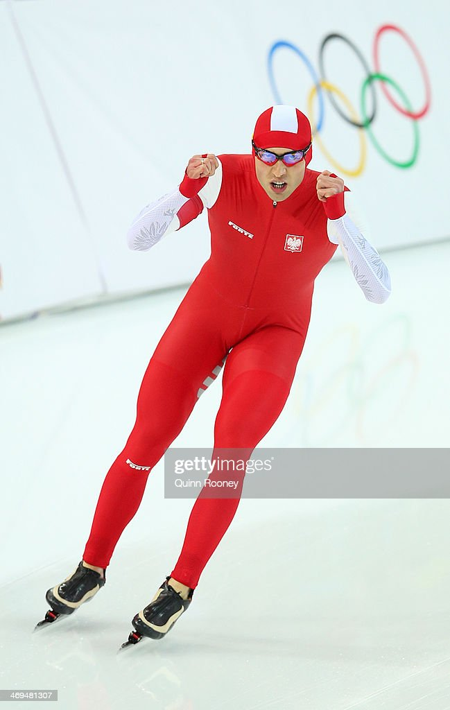 Zbigniew Brodka of Poland celebrates after competing in the Men's 1500m Speed Skating event on day 8 of the Sochi 2014 Winter Olympics at Adler Arena Skating Center on February 15, 2014 in Sochi, Russia.