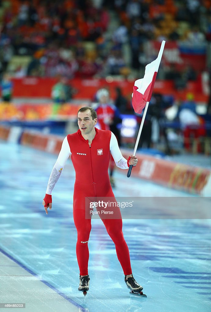 Zbigniew Brodka of Poland celebrates after winning gold in the Speed Skating Men's 1500m on day eight of the Sochi 2014 Winter Olympics at Adler Arena Skating Center on February 15, 2014 in Sochi, Russia.