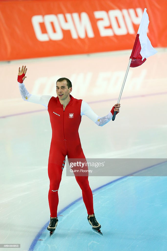 Zbigniew Brodka of Poland celebrates winning gold medal in the Men's 1500m Speed Skating event on day 8 of the Sochi 2014 Winter Olympics at Adler Arena Skating Center on February 15, 2014 in Sochi, Russia.