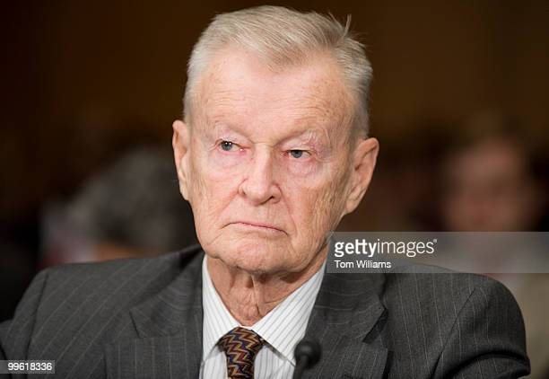 Zbigniew Brzezinski former national security adviser listens to opening statements before testifying before a Senate Foreign Relations Committee...