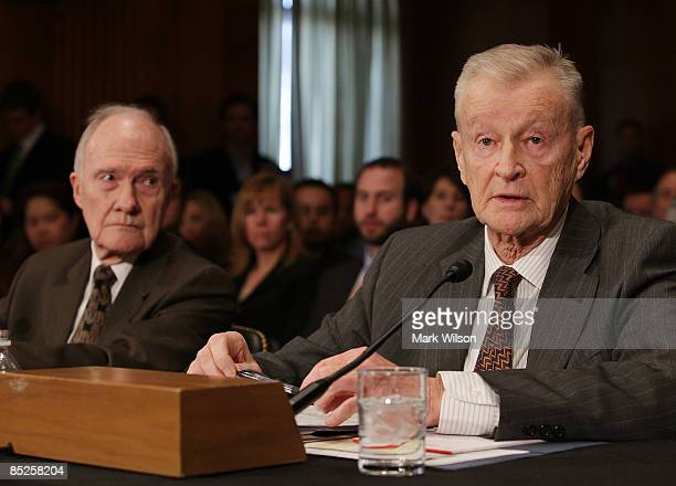 Zbigniew Brzezinski former national security adviser to President Carter and Gen Brent Scowcroft former national security adviser participate in the...