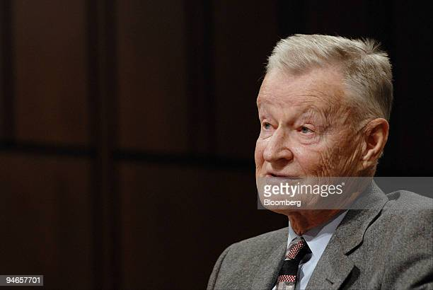 Zbigniew Brzezinski former National Security Adviser under former US President Jimmy Carter testifies at a Senate Foreign Relations Committee hearing...