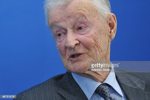 Zbigniew Brzezinski former US national security advisor speaks at the Toward a Europe Whole and Free conference at the Atlantic Council on April 29...