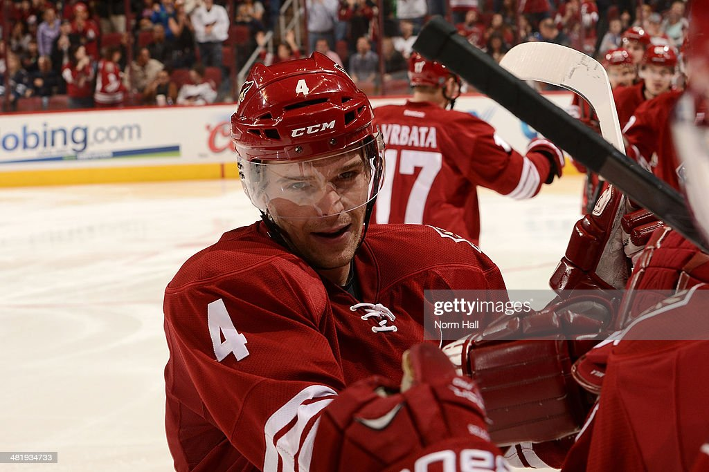 <a gi-track='captionPersonalityLinkClicked' href=/galleries/search?phrase=Zbynek+Michalek&family=editorial&specificpeople=243230 ng-click='$event.stopPropagation()'>Zbynek Michalek</a> #4 of the Phoenix Coyotes and teammates on the bench celebrate a goal against the Winnipeg Jets at Jobing.com Arena on April 1, 2014 in Glendale, Arizona.