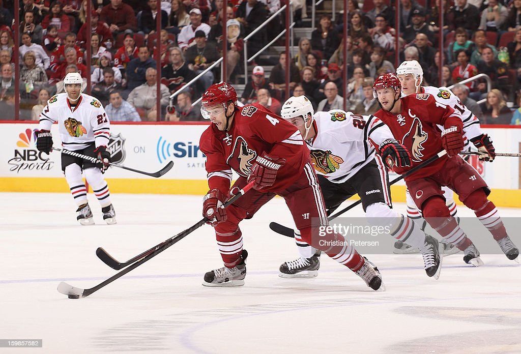 <a gi-track='captionPersonalityLinkClicked' href=/galleries/search?phrase=Zbynek+Michalek&family=editorial&specificpeople=243230 ng-click='$event.stopPropagation()'>Zbynek Michalek</a> #4 of the Phoenix Coyotes skates with the puck during the NHL game against the Chicago Blackhawks at Jobing.com Arena on January 20, 2013 in Glendale, Arizona. The Blackhawks defeated the Coyotes 6-4.