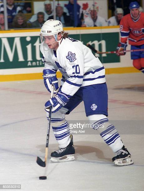 Zdenek Nedved of the Toronto Maple Leafs carries the puck up ice against the Montreal Canadiens during NHL Preseason game action on September 22 1995...