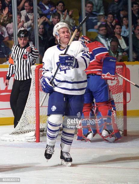 Zdenek Nedved of the Toronto Maple Leafs celebrates his goal against the Montreal Canadiens during NHL Preseason game action on September 22 1995 at...
