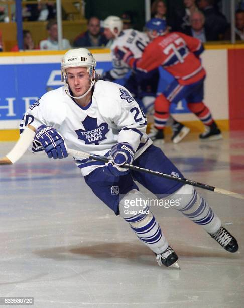 Zdenek Nedved of the Toronto Maple Leafs turns up ice against the Montreal Canadiens during NHL Preseason game action on September 22 1995 at Maple...