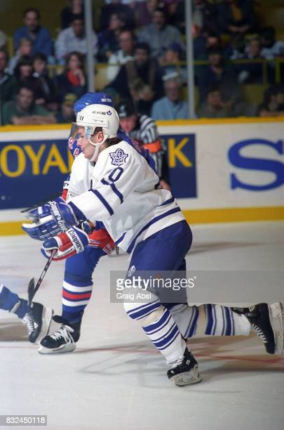 Zdenek Nedved of Toronto Maple Leafs skates up ice against the New York Rangers during NHL game action on October 14 1995 at Maple Leaf Gardens in...