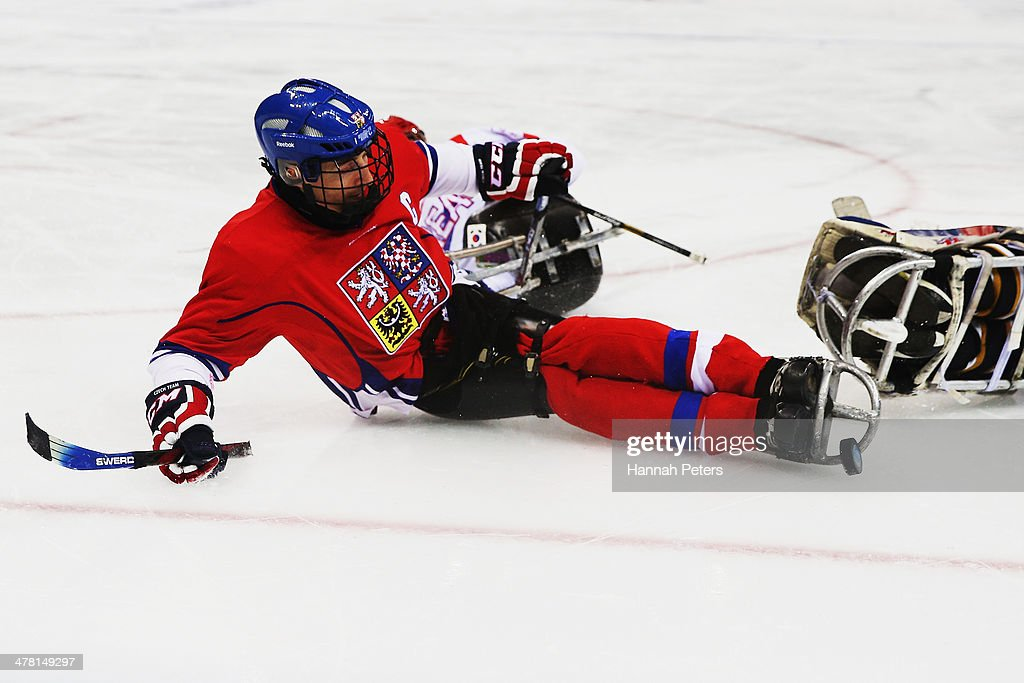 Zdenek Safranek of the Czech Republic shoots for goal during the Ice Sledge Hockey Classification match between Korea and the Czech Republic at the Shayba Arena during day five of the 2014 Paralympic Winter Games on March 12, 2014 in Sochi, Russia.