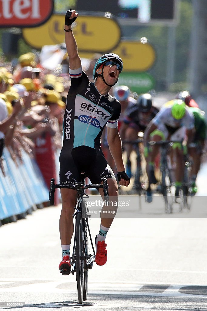 Zdenek Stybar of Czech Republic riding for Etixx-QuickStep celebrates as he wins stage six of the 2015 Tour de France from Abbeville to Le Havre on July 9, 2015 in Le Havre, France.