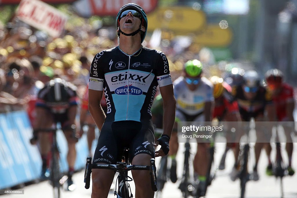 Zdenek Stybar of Czech Republic riding for Etixx-QuickStep reacts as he wins stage six of the 2015 Tour de France from Abbeville to Le Havre on July 9, 2015 in Le Havre, France.