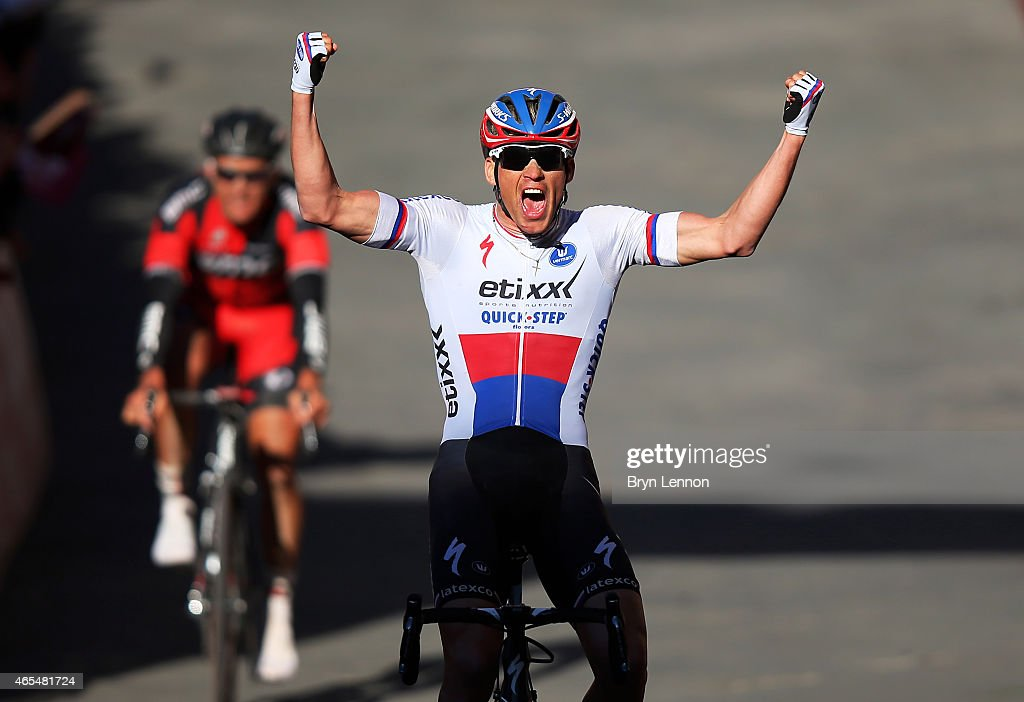 Zdenek Stybar of the Czech Republic and Etixx - Quick-Step celebrates victory as he crosses the finish line during the 2015 Strade Bianche from to San Gimignano to Siena ll Campo on March 7, 2015 in Siena, Italy.