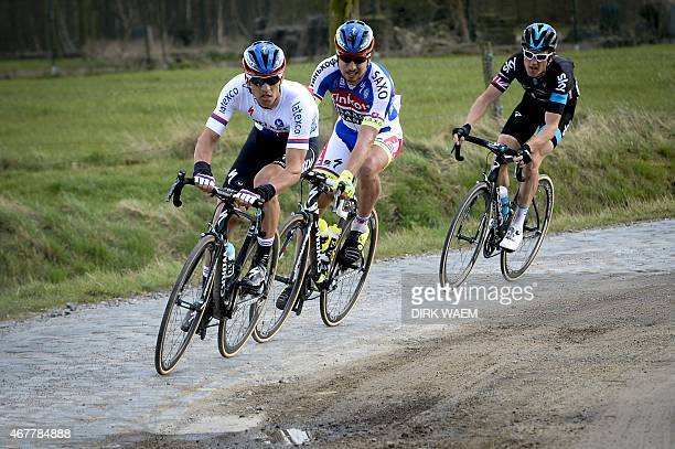 Zdenek Stybar of the Czech republic Peter Sagan of Slovakia and Geraint Thomas of Britain ride during the 58th edition of the E3 Harelbeke cycling...