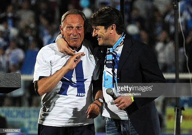 Zdenek Zeman head coach of Pescara and Daniele Sebastiani President of Pescara celebrate the victory after the Serie B match between Pescara Calcio...