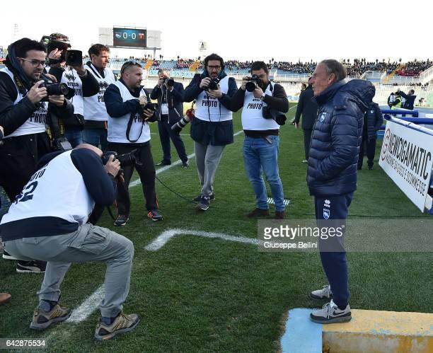 Zdenek Zeman head coach of Pescara Calcio prior the Serie A match between Pescara Calcio and Genoa CFC at Adriatico Stadium on February 19 2017 in...