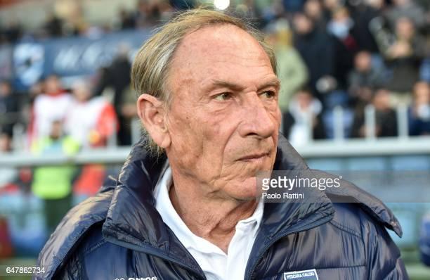 Zdenek Zeman head coach of Pescara during the Serie A match between UC Sampdoria and Pescara Calcio at Stadio Luigi Ferraris on March 4 2017 in Genoa...