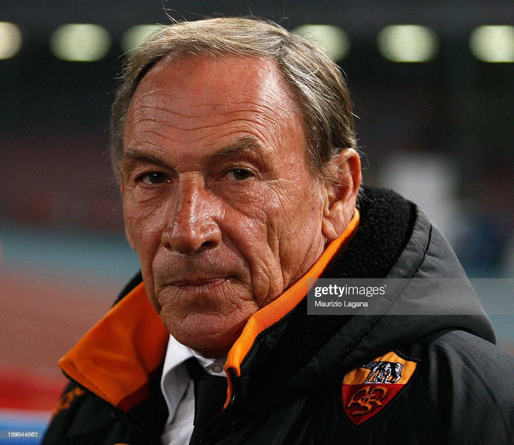 <a gi-track='captionPersonalityLinkClicked' href=/galleries/search?phrase=Zdenek+Zeman&family=editorial&specificpeople=628975 ng-click='$event.stopPropagation()'>Zdenek Zeman</a> head coach of Roma loks on during the Serie A match between SSC Napoli and AS Roma at Stadio San Paolo on January 6, 2013 in Naples, Italy.