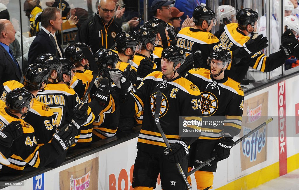 <a gi-track='captionPersonalityLinkClicked' href=/galleries/search?phrase=Zdeno+Chara&family=editorial&specificpeople=203177 ng-click='$event.stopPropagation()'>Zdeno Chara</a> #33 and teammates of the Boston Bruins celebrate a goal against the New York Islanders at the TD Garden on January 25, 2013 in Boston, Massachusetts.