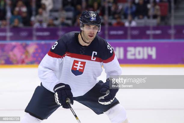 Zdeno Chara of Slovakia looks on in the third period against Slovenia during the Men's Ice Hockey Preliminary Round Group A game on day eight of the...
