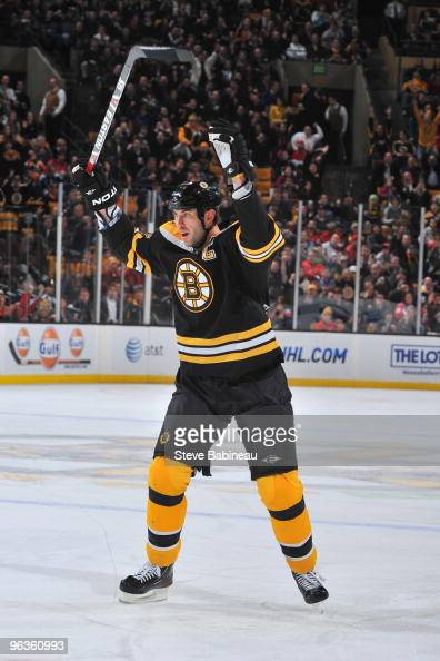 Zdeno Chara of the Boston Bruins celebrates a goal against the Washington Capitals at the TD Garden on February 2 2010 in Boston Massachusetts