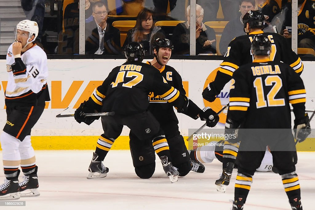 <a gi-track='captionPersonalityLinkClicked' href=/galleries/search?phrase=Zdeno+Chara&family=editorial&specificpeople=203177 ng-click='$event.stopPropagation()'>Zdeno Chara</a> #33 of the Boston Bruins celebrates a goal against the Anaheim Ducks at the TD Garden on October 31, 2013 in Boston, Massachusetts.