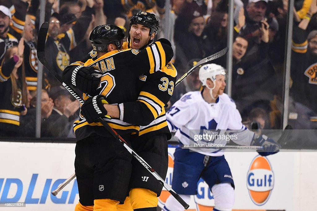 Zdeno Chara of the Boston Bruins celebrates a goal against the Toronto Maple Leafs at the TD Garden on November 21 2015 in Boston Massachusetts