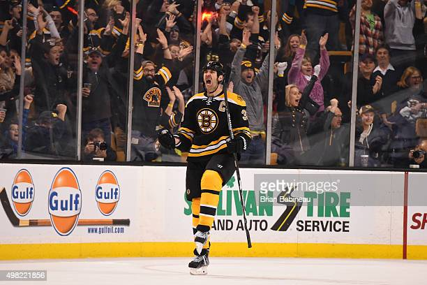 Zdeno Chara of the Boston Bruins celebrates a goal against the Toronto Maple Leafs at the TD Garden on November 21 2015 in Boston Massachusetts