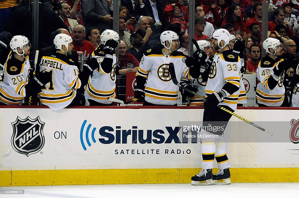 <a gi-track='captionPersonalityLinkClicked' href=/galleries/search?phrase=Zdeno+Chara&family=editorial&specificpeople=203177 ng-click='$event.stopPropagation()'>Zdeno Chara</a> #33 of the Boston Bruins celebrates after scoring a goal against the Washington Capitals during the third period of Game Three of the Eastern Conference Quarterfinals during the 2012 NHL Stanley Cup Playoffs at Verizon Center on April 16, 2012 in Washington, DC.