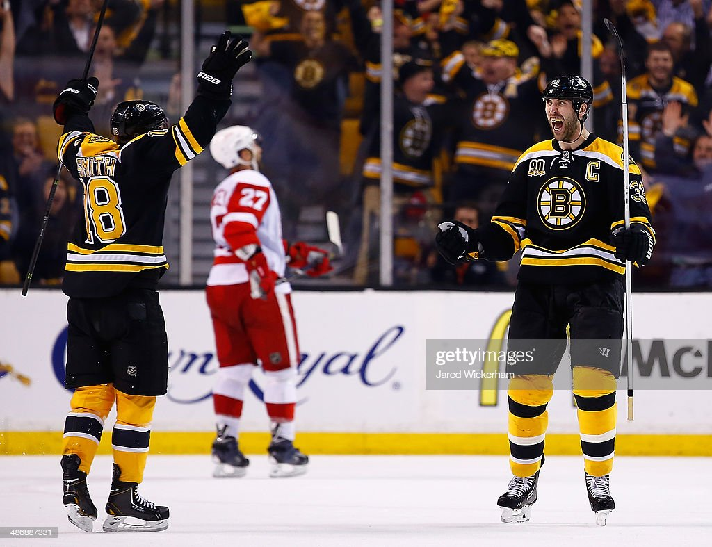 <a gi-track='captionPersonalityLinkClicked' href=/galleries/search?phrase=Zdeno+Chara&family=editorial&specificpeople=203177 ng-click='$event.stopPropagation()'>Zdeno Chara</a> #33 of the Boston Bruins celebrates his goal at the end of the second period with teammate Reilly Smith #18 against the Detroit Red Wings in Game Five of the First Round of the 2014 NHL Stanley Cup Playoffs at TD Garden on April 26, 2014 in Boston, Massachusetts.