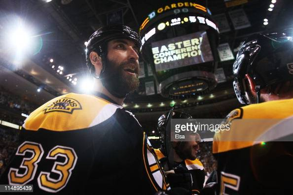 Zdeno Chara of the Boston Bruins celebrates their 1 to 0 win over the Tampa Bay Lightning in Game Seven of the Eastern Conference Finals during the...